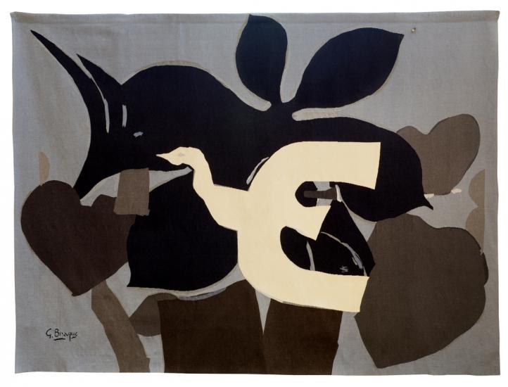 L'Oiseau, d'après Georges Braque, tissage atelier de l'ENAD Aubusson (Denis Dumontet)