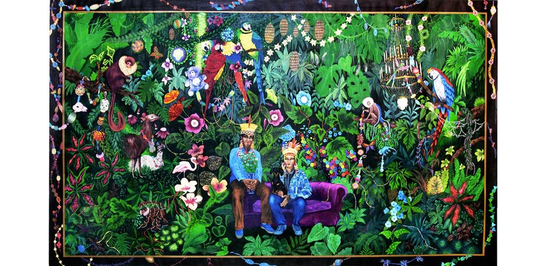 La famille dans la joyeuse verdure, Leo Chiachio and Daniel Giannone, second prize 2013. Tapestry model, gouache on paper