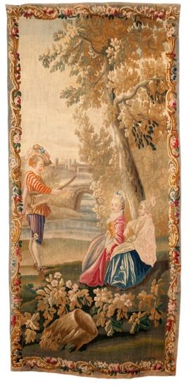 Deux jeunes filles écoutant un musicien, pièce de la tenture d'après Watteau, tapisserie de basse-lisse, XVIIIe siècle