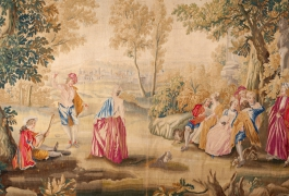Les Plaisirs du bal (détail), pièce d'une tenture de 5 tapisseries d'après Watteau, ateliers d'Aubusson, XVIIIe siècle